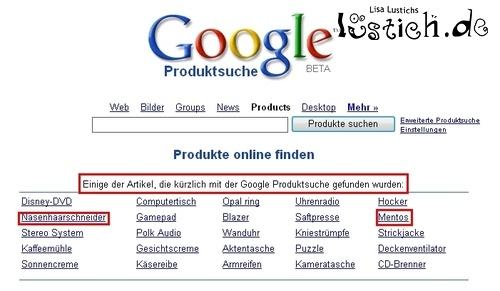 Die Google Produkt Suche