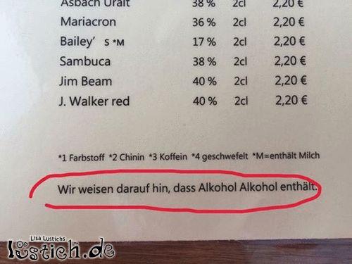 Alkohol enthält Alkohol