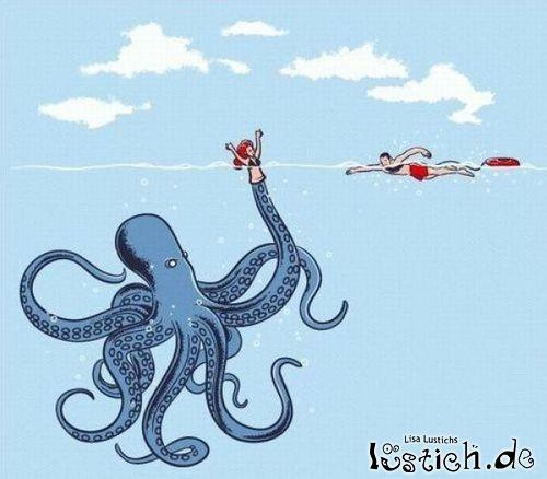 Kraken verarscht Schwimmer